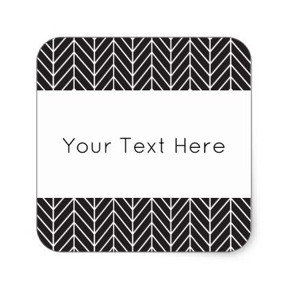 Black and White Chevron Square Sticker