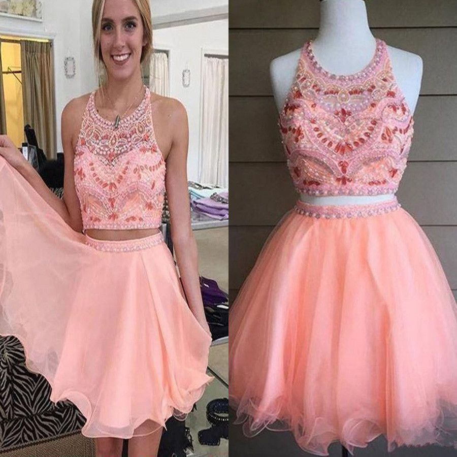 Blush pink two pieces off shoulder sweet cute graduation homecoming ...