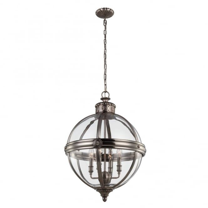 Victorian Inspired Glass Globe 4lt Chandelier For Period