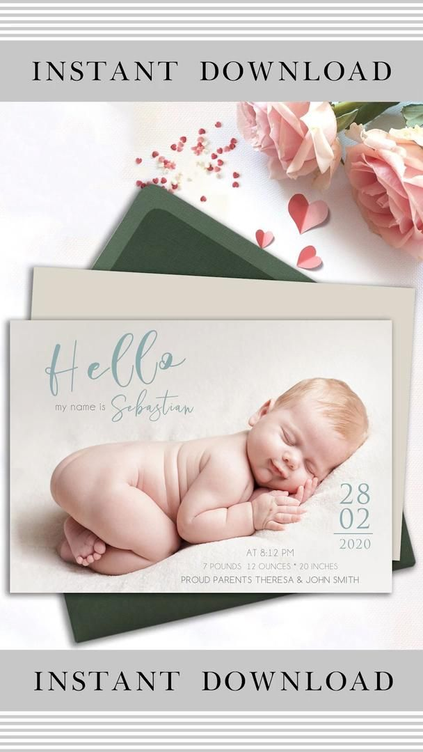 Birth Announcement Template Baby Announcement Editable Birth Etsy Video Video Birth Announcement Template Baby Announcement Birth Announcement