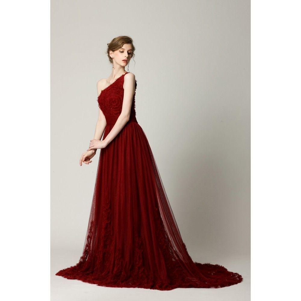 A-Line Asymmetric Appliques Chiffon Long Burgundy Prom