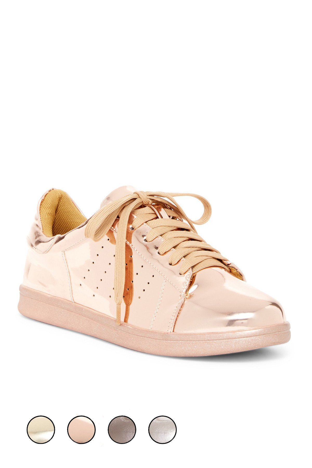 Hensely Rose Gold Sneakers In 2020 Metallic Sneakers Rose Gold Sneakers Nike Air Shoes