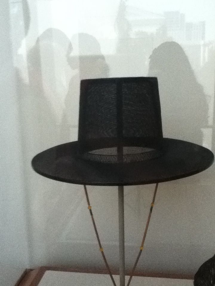 A hat used in Korea for special occasions.  This hat is made out of horse hair.  -V.S. Photo By V.S. Crow Museum 12-11-13