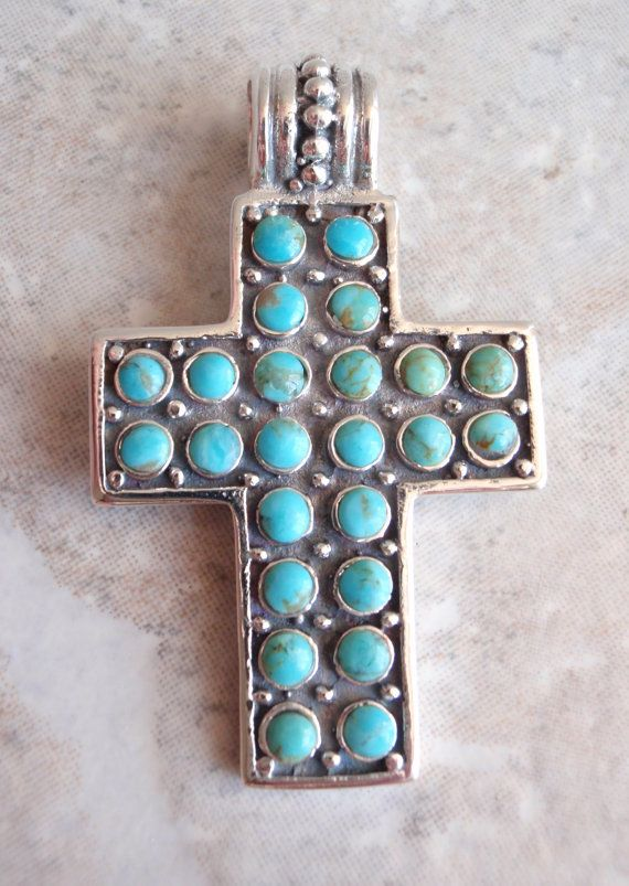 Turquoise Sterling Silver Cross Pendant Petit Point by cutterstone, $98.00