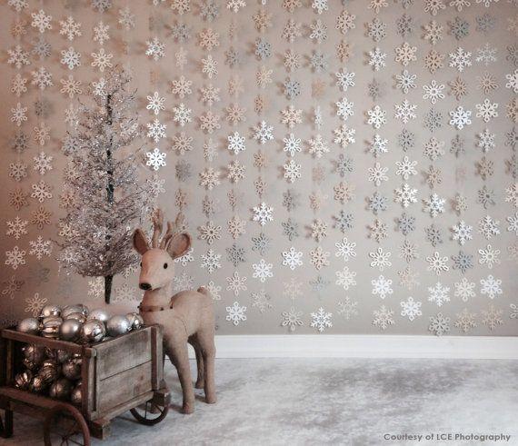 Paper Snowflake Garland Silver Ivory White Gray
