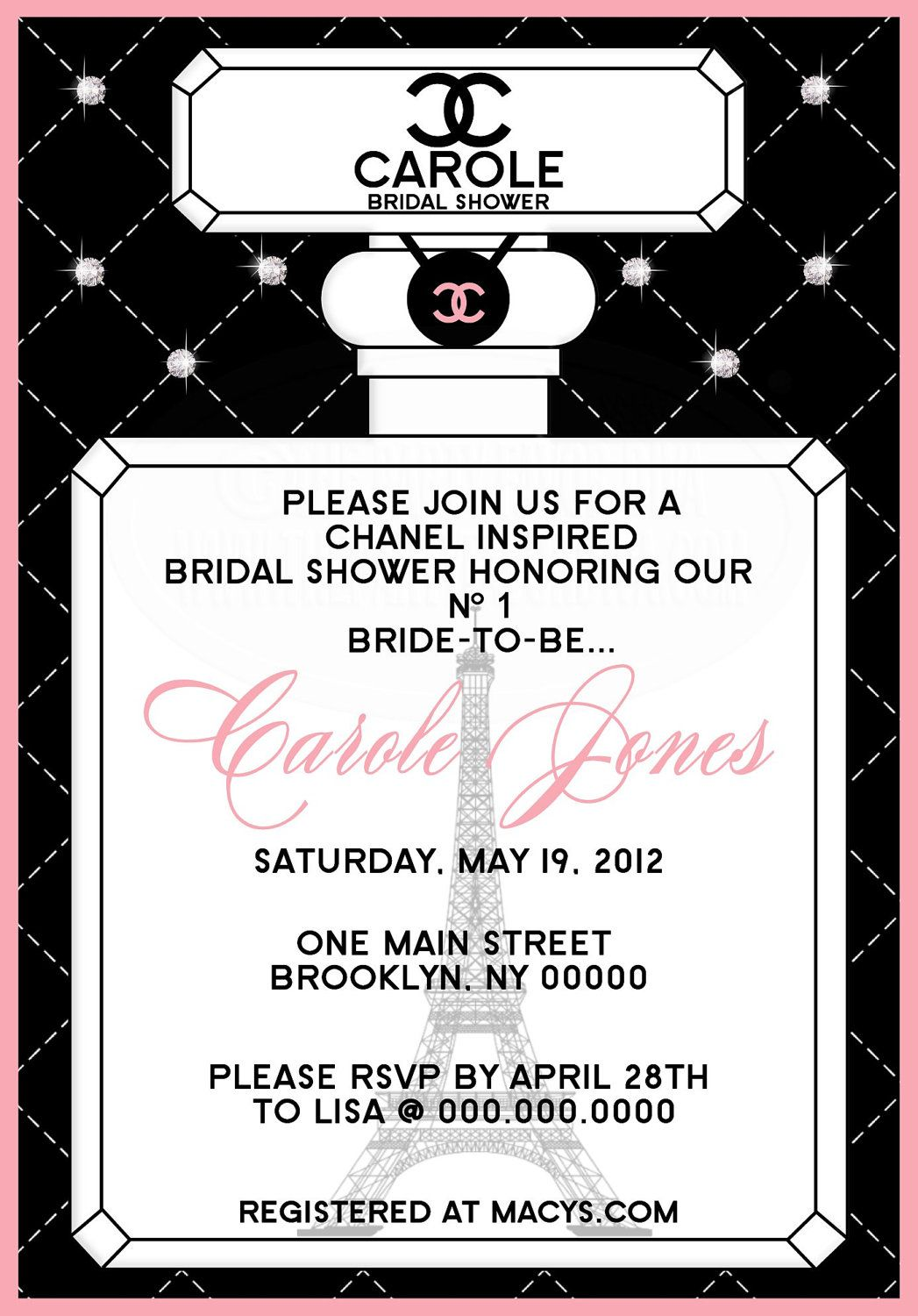 Parisian inspired bridal shower invitation shower invitations chanel inspired bridal shower invitation by thepartyfavordiva 1995 filmwisefo