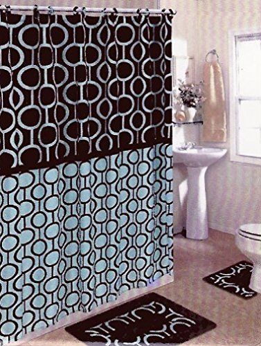 Brown Blue 15piece Bathroom Set Bath Rugs Shower Curtain Rings Be Sure To Check Out This Awesome Product NoteIt Is Affiliate Link Amazon