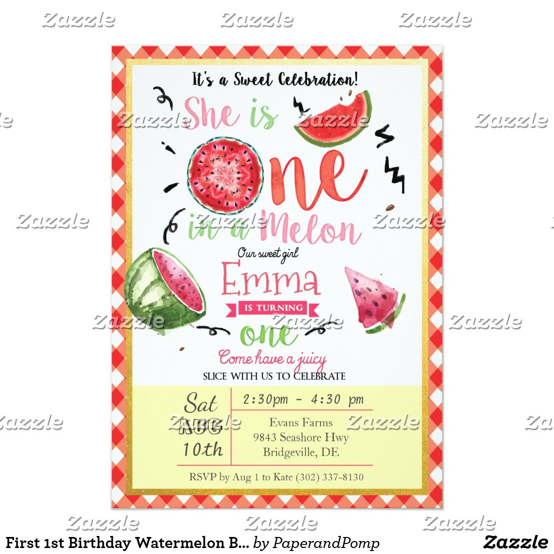 First 1st birthday watermelon birthday invitation watermelon first 1st birthday watermelon birthday invitation filmwisefo