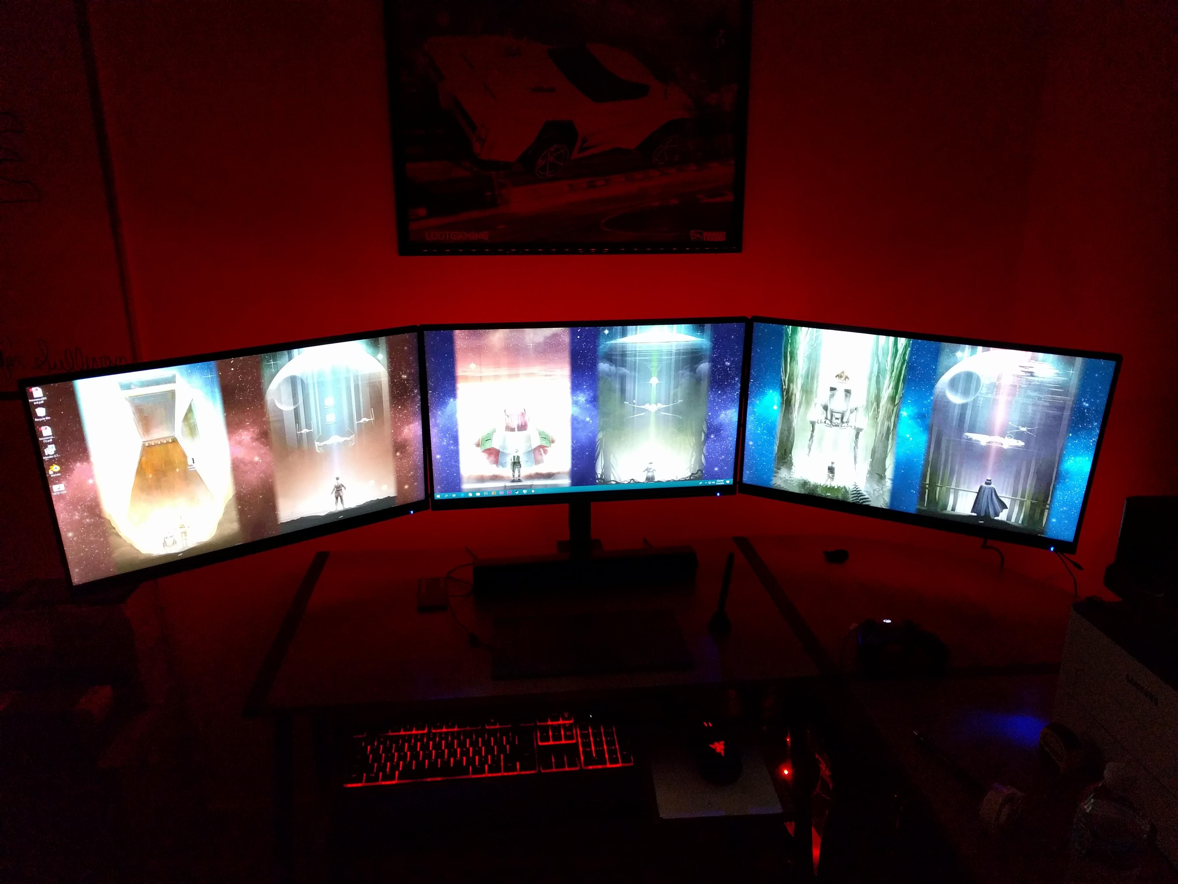 Simple triple monitor setup looking for a dark or red sith