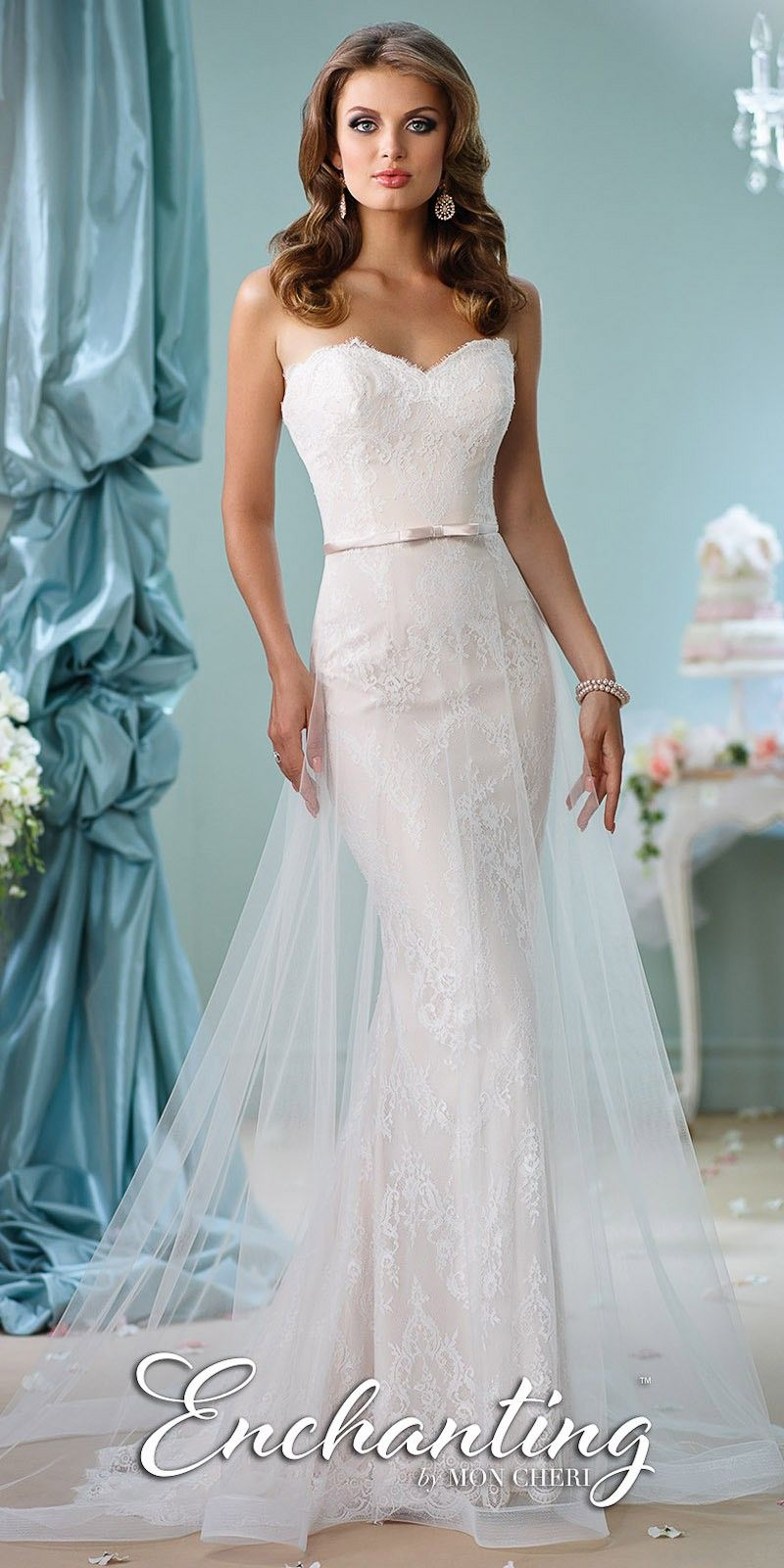 Strapless Bow Belted Wedding Gown by Mon Cheri Enchanting   Dress ...