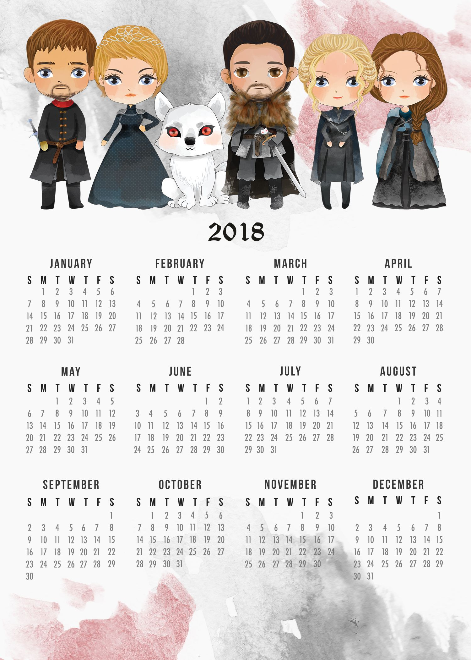 Free Printable 2018 Game of Thrones Calendar | Pinterest | Free