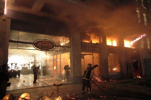 Riots Greek Starbucks on fire...