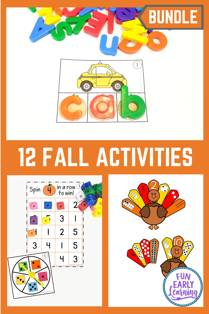November Fall Activities Bundle for Math, Literacy, and Crafts! #fallactivitiesforkids