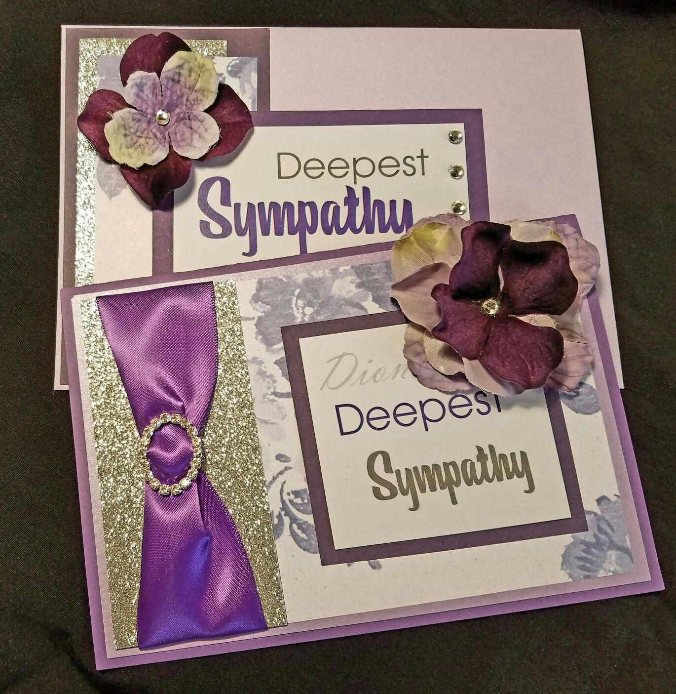 handmade sympathy card with a lavender color theme