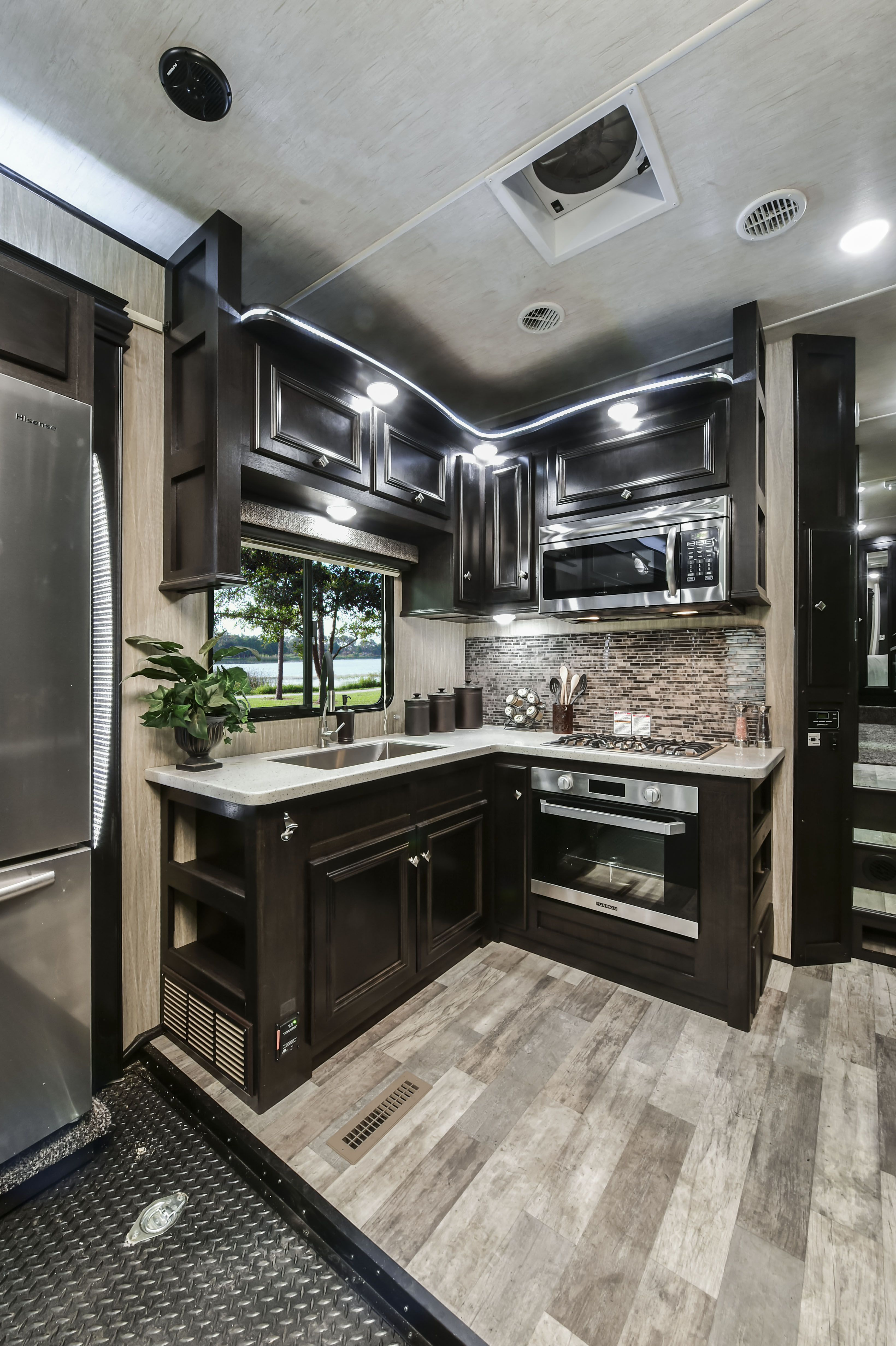Road Warrior 411 Toy Hauler Fifth Wheel Luxury Rv Kitchen Decor Pictures Kitchen Decor