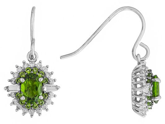 1.89ctw Russian Chrome Diopside With 1.09ctw White Zircon Sterling Sil