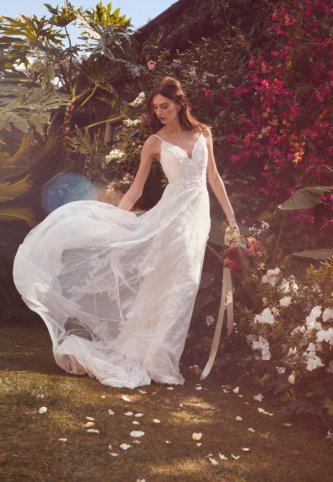 This Flowy Melissa Sweet Wedding Dress Is The Epitome Of Romantic Aline Wedding Dress Wedding Dresses Sweet Wedding Dresses