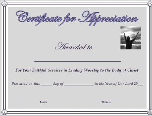 free certificate of appreciation for worship leader with immediate