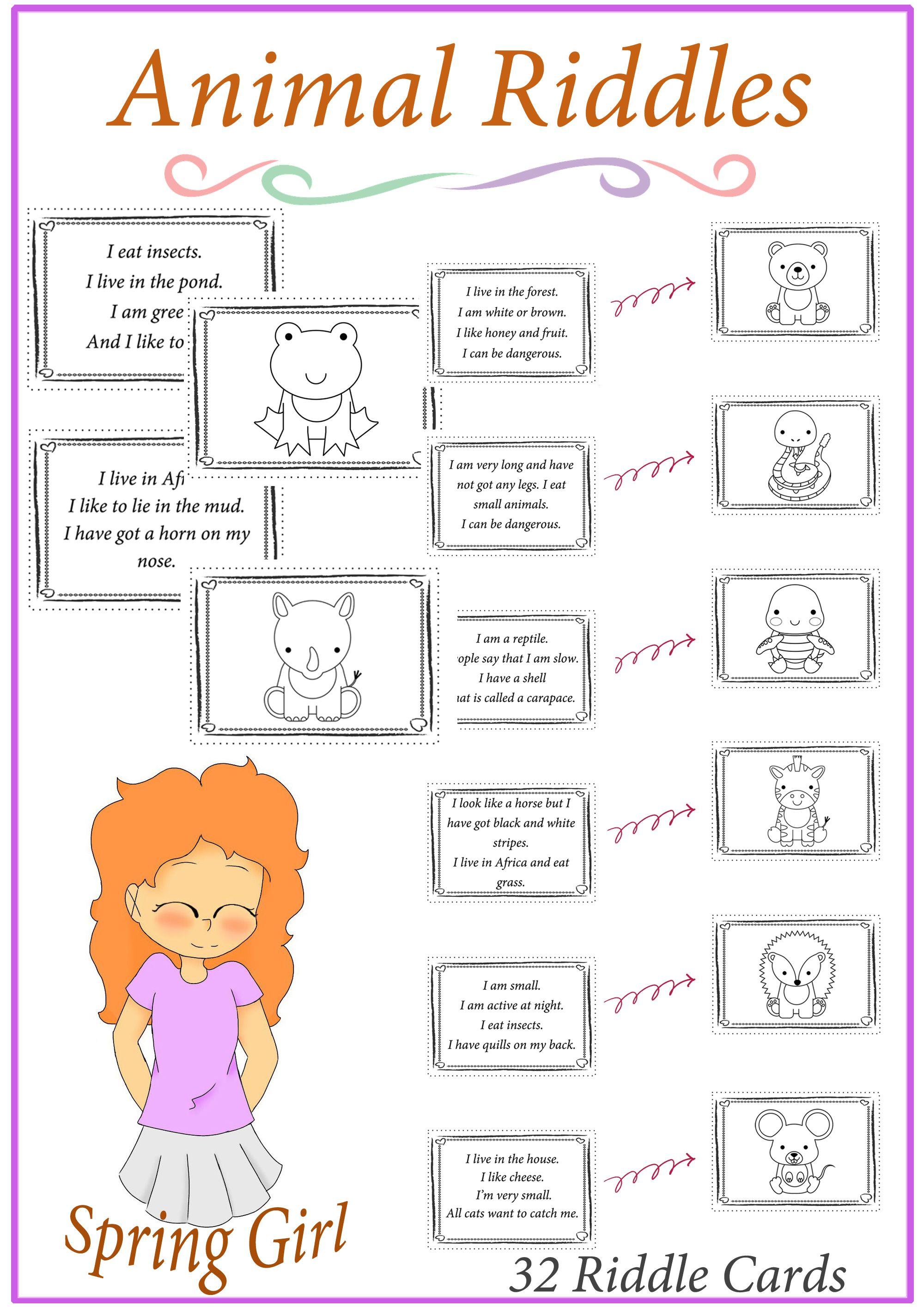 Animal Riddles/Who am I Game Animal riddles, Preschool