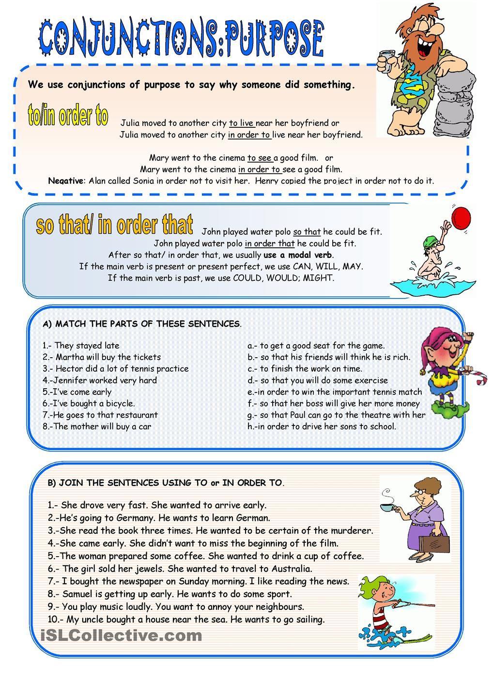 Workbooks worksheets on conjunctions for grade 8 : CONJUNCTIONS OF PURPOSE | Conjunctions | Pinterest | Worksheets ...