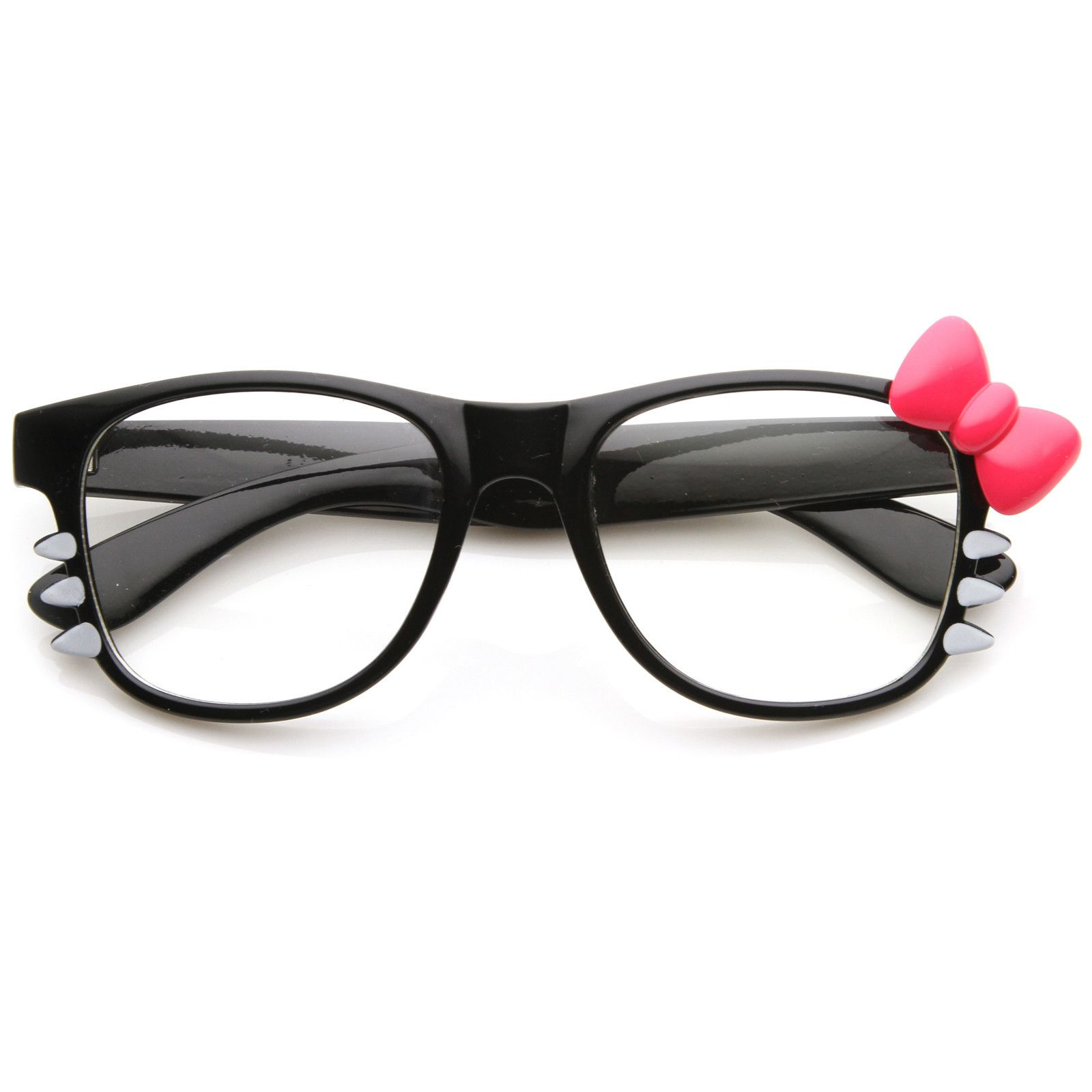 5d8c236a28 Cute Womens Hello Kitty Bow Clear Lens Glasses With Whiskers 8499 ...