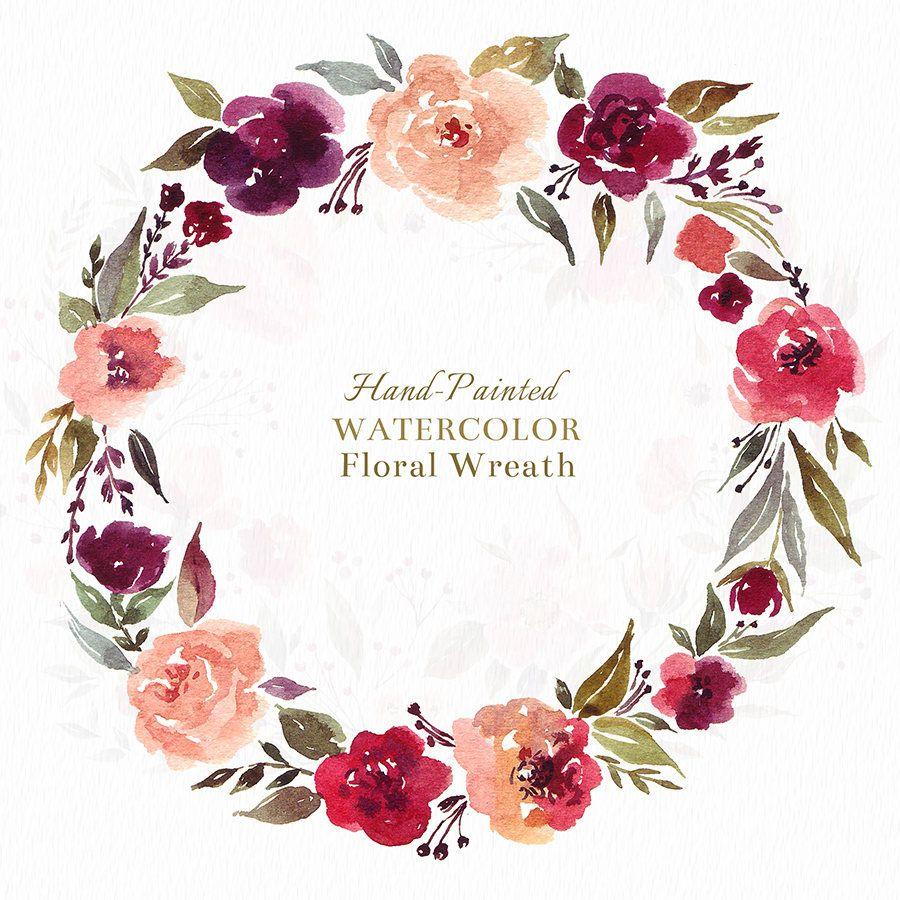 Digital Clipart Romantic Floral Wreath Etsy Molesko Studio