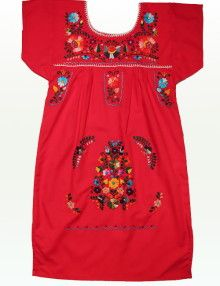 Kids Floral Embroidered Mayan Dress