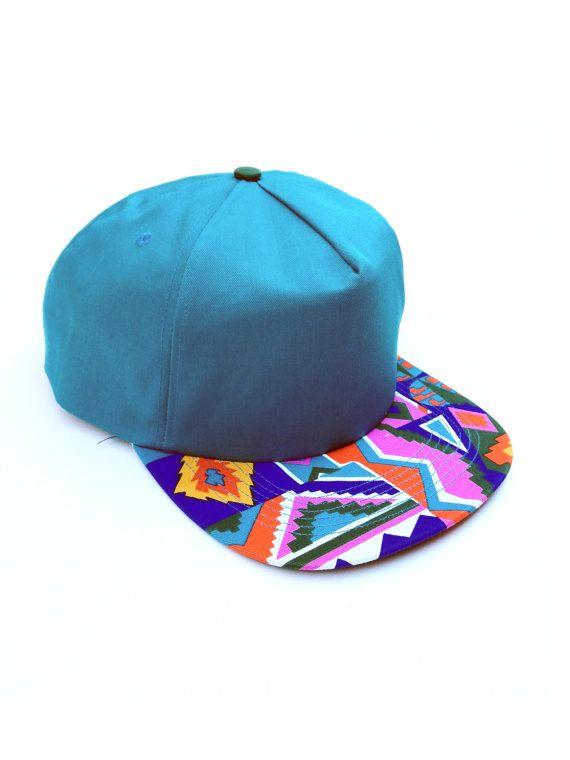 d609ff95dc6c9 Dope 90s Rainbow Aztec Bill Snapback Cap Teal by NeonStockyards