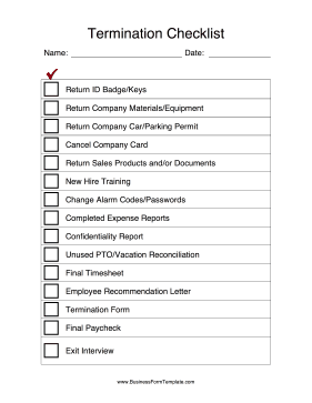 after an employee leaves a company use this termination checklist to get back all company. Black Bedroom Furniture Sets. Home Design Ideas