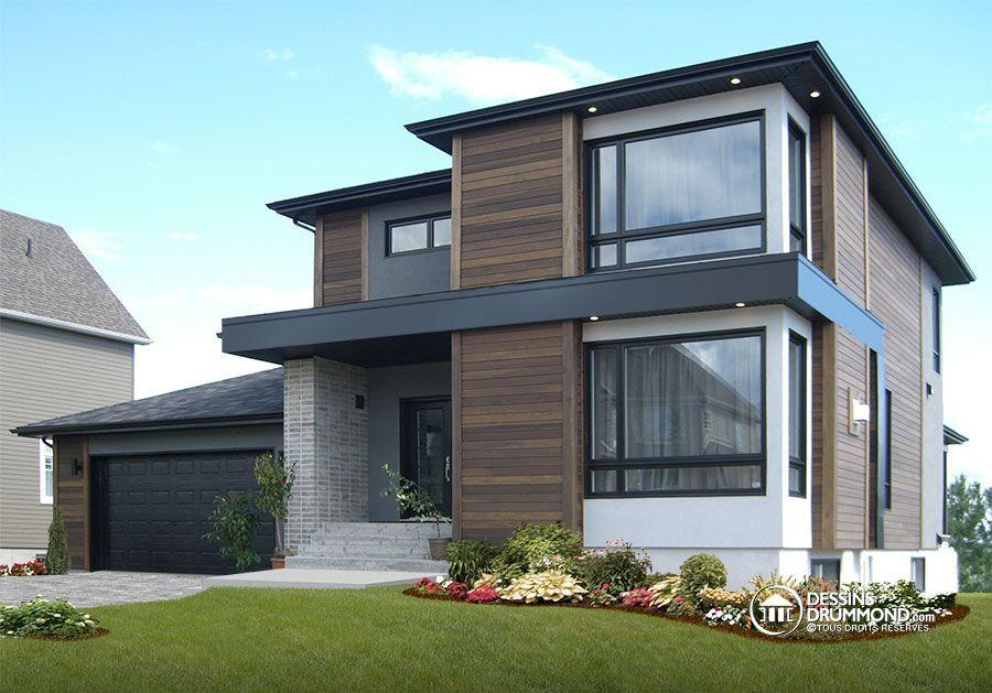 Plan de Maison unifamiliale W3713-V1 Couverture extérieure