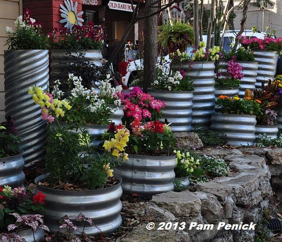 Drive By Gardens: Colorful Culvert Pipe Planters In Houston Heights |  Digging