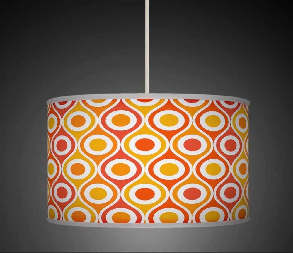 Orange mustard red geometric handmade fabric lampshade pendant plum retro geometric handmade giclee style printed fabric lamp drum lampshade floor or ceiling pendant light shade 559 purple lilac mozeypictures Gallery