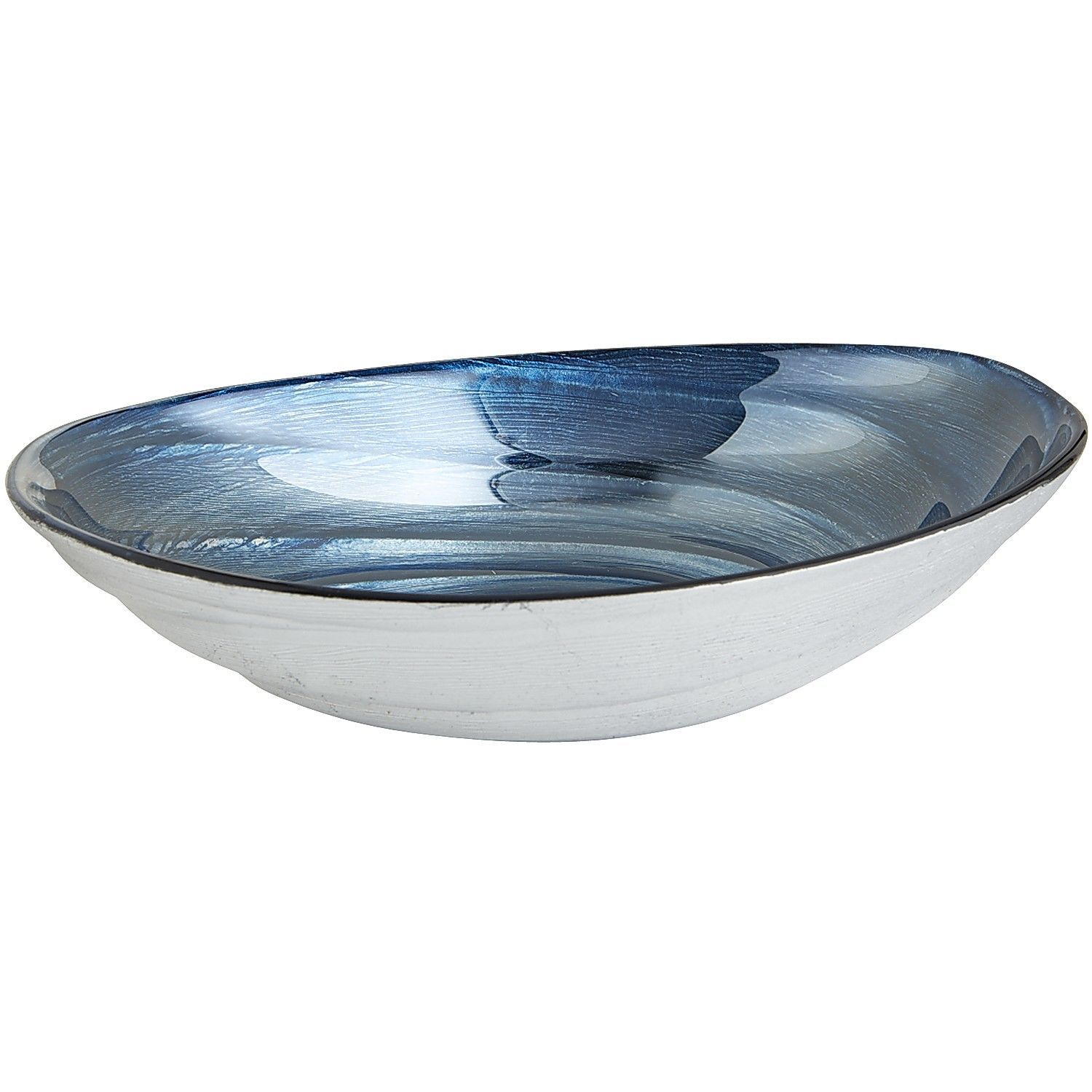 Oval Swirled Bowl Blue & Silver Pier 1 Imports