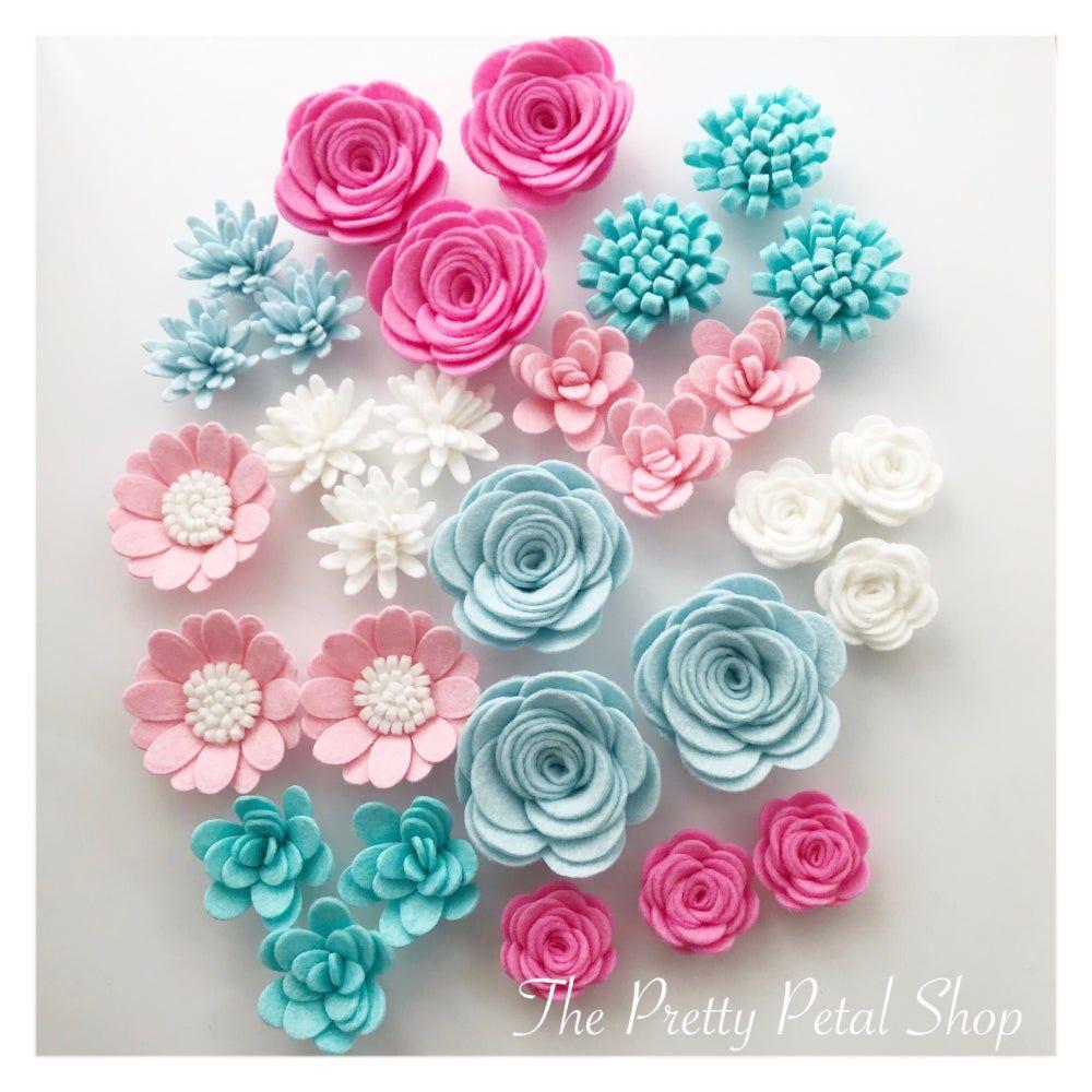 Image Of Candy Floss 30 Handmade Felt Flowers Fieltro Hecho A Mano Coronas De Flores De Papel Flores De Tela Enrollada