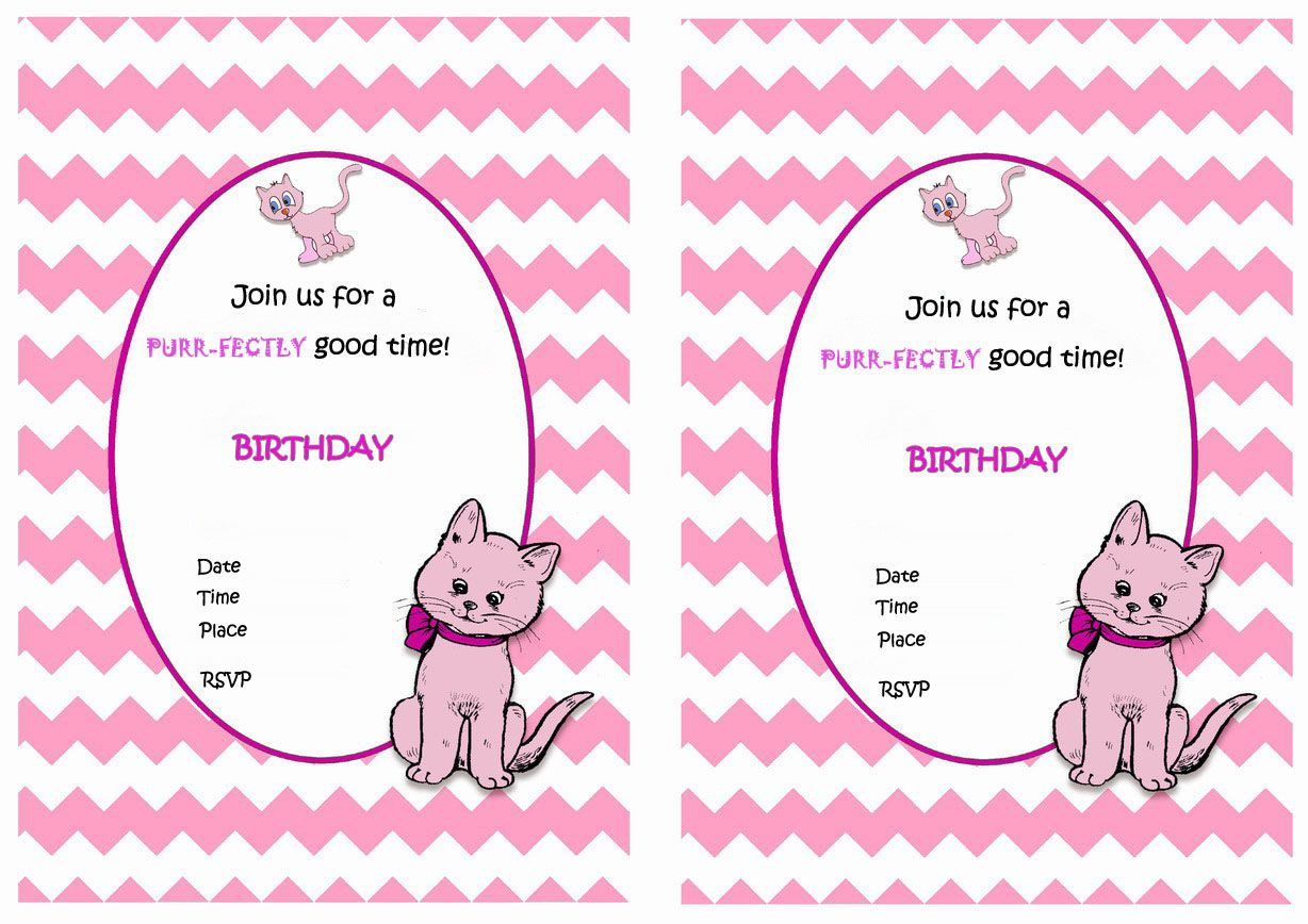 cat free printable birthday party invitations birthday party