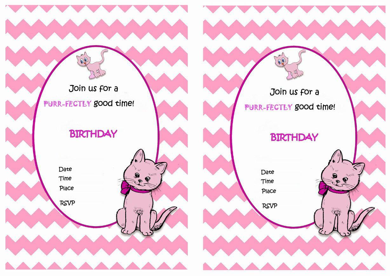Cat Free Printable Birthday Party Invitations Birthday Party Invitations