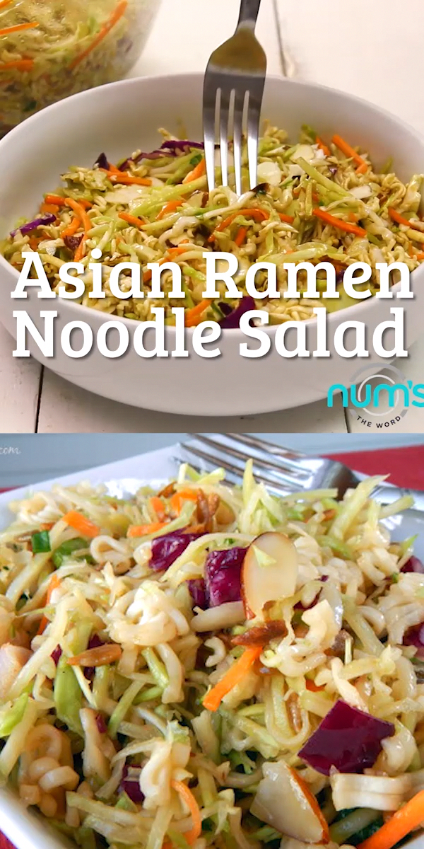 *VIDEO* This Asian Ramen Noodle salad takes 20 minutes to whip together and can be made the night before.  Easy, quick and one of our favorite salads! #salad #sidedish #asian #coleslaw #slaw #asiancoleslaw #ramennoodle #broccolislaw #almonds #potluck #recipes #numstheword #video #EasyAvocadoRecipes