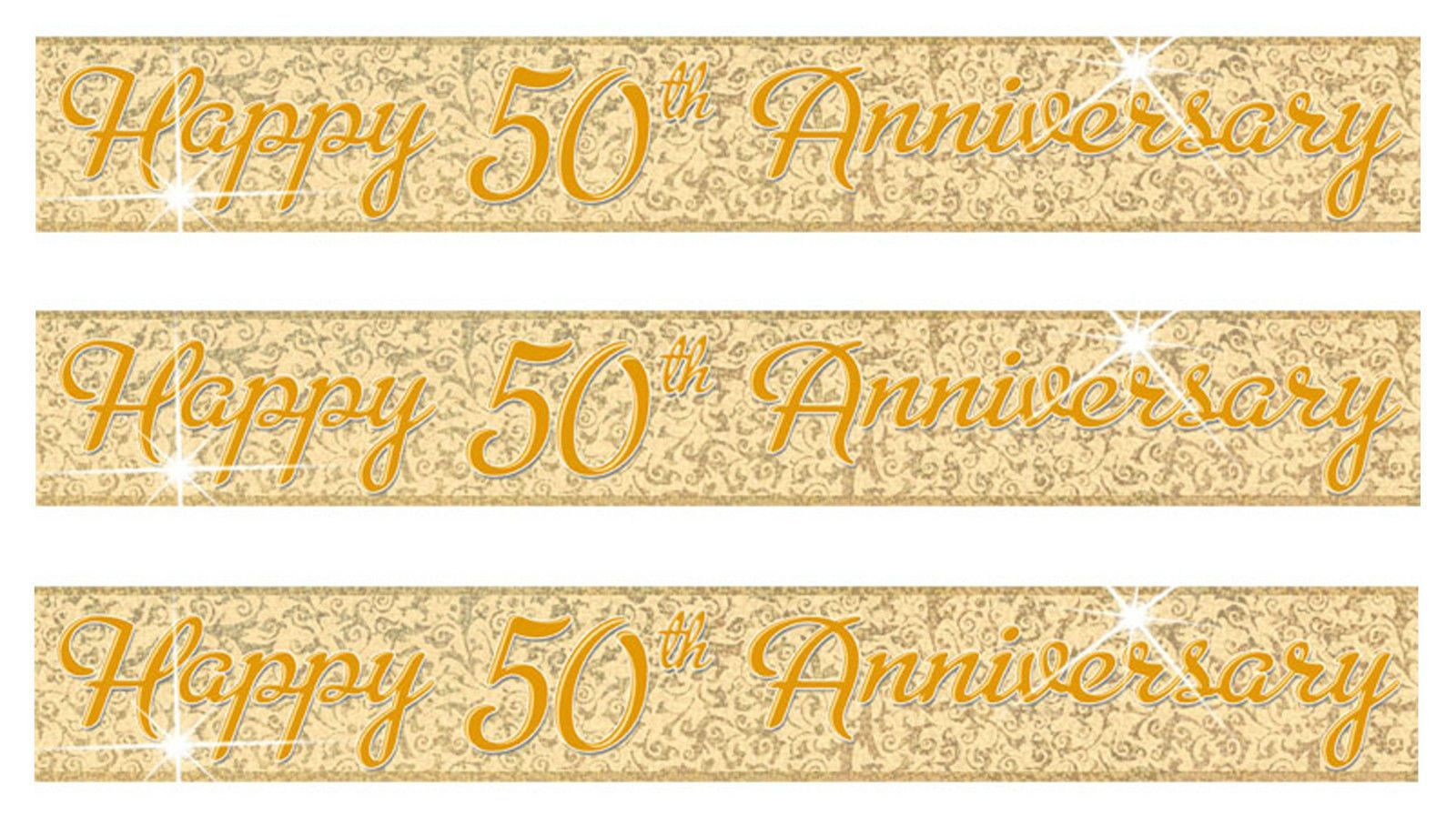 12 Feet Golden 50th Anniversary Wedding Party Foil Banner Decoration ...