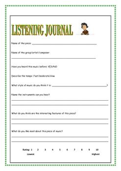 music appreciation music listening worksheets journal and activities. Black Bedroom Furniture Sets. Home Design Ideas