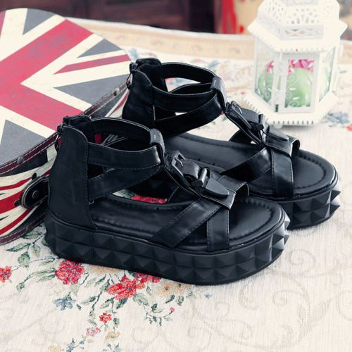 Stylish British Mens Leather Buckle Flats Gothic Punk Beach Sandal Shoes Vogue