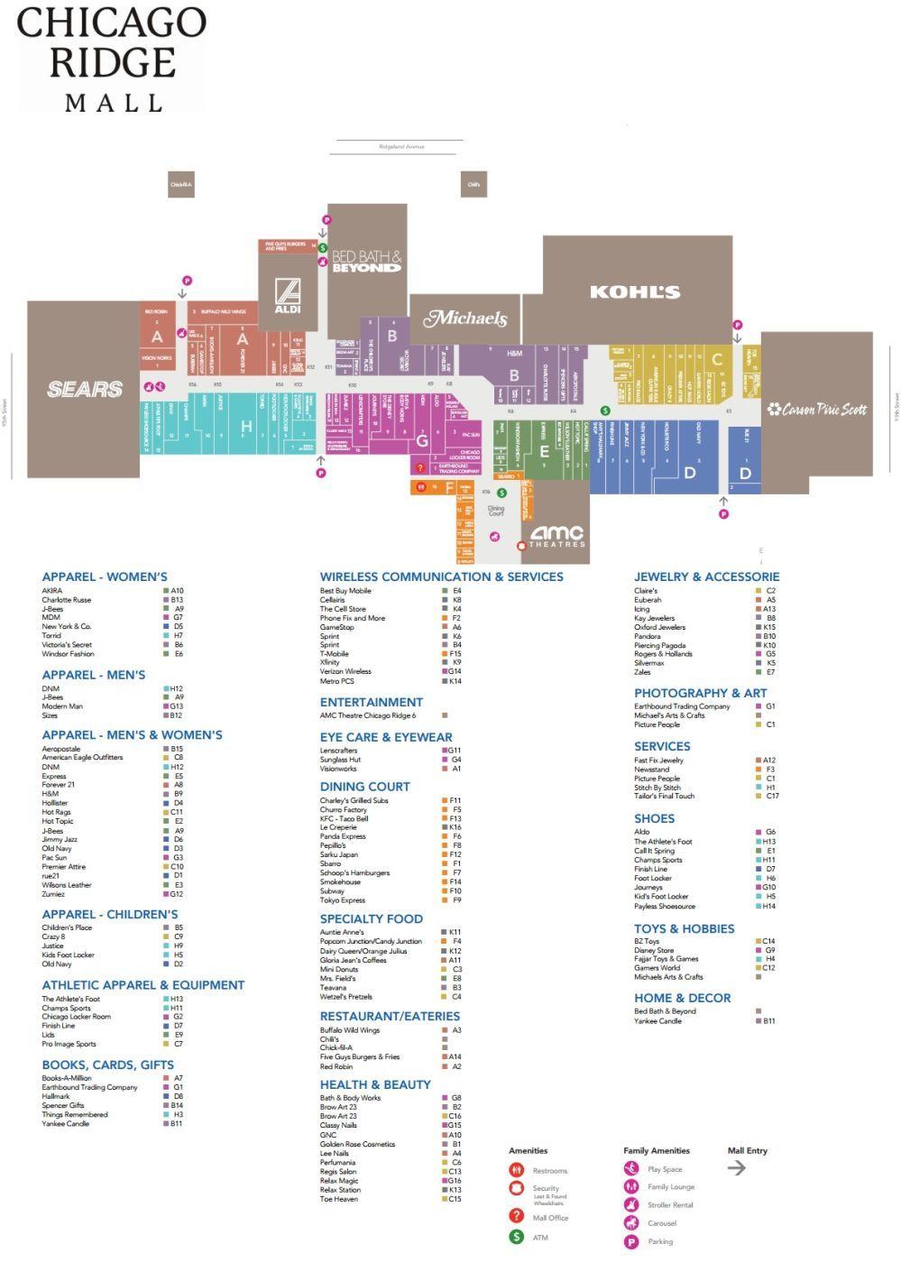 Chicago Ridge Mall Shopping Plan Mall Maps Chicago Ridge Mall
