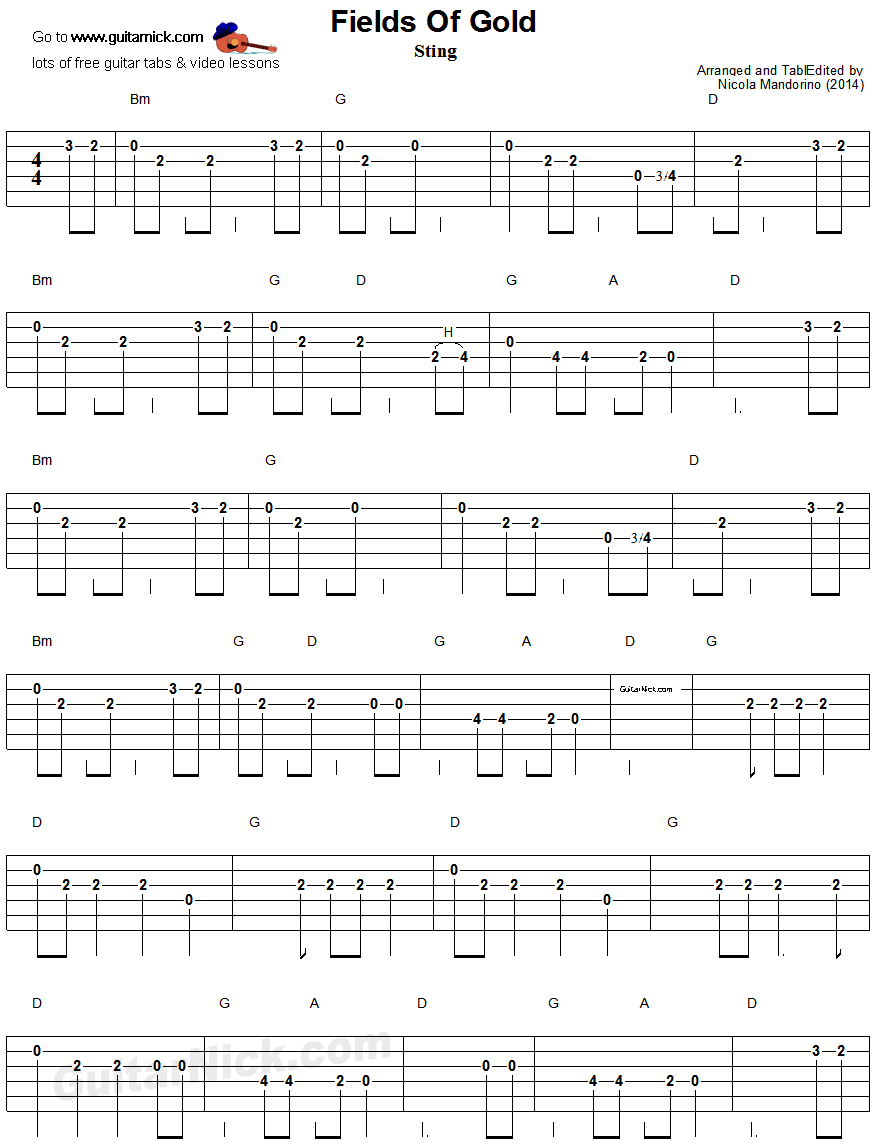 Fields Of Gold Easy Guitar Tablature 1 Guitar Stuff Pinterest