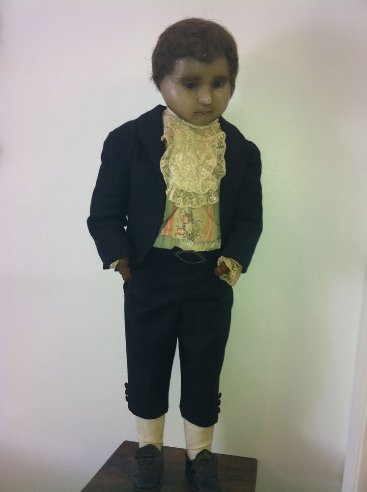 Very rare and scarce unique wax mannequin.unusually complete,with body and head, dates 1880c.He is a extremely handsome little fellow and wears his original clothing,with a leather shoes and a jet belt buckle.mounted on a plinth,whilst i cannot confirm this is the original plinth.fantastic museum quality.