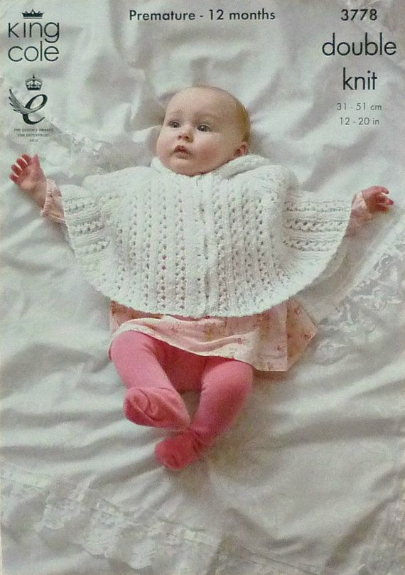 Baby Knitting Pattern K3778 Babies Lacy Hooded Poncho Knitting ...