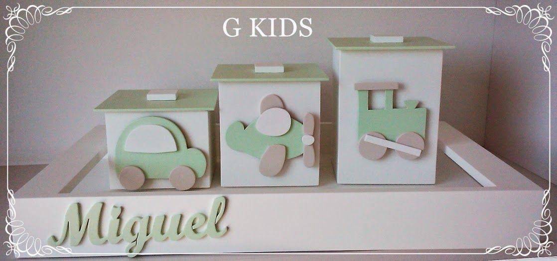 G KIDS Kit Higiene Carrinhos, Caixinhas para Bebê, baby room, decoração quar