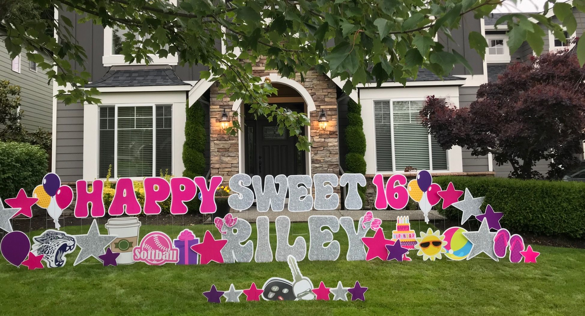 Our Birthday Yard Signs And Yard Art Make Awesome Sweet 16 Birthday Party Decorations They Birthday Yard Signs Happy Birthday Sweet 16 Sweet Sixteen Birthday