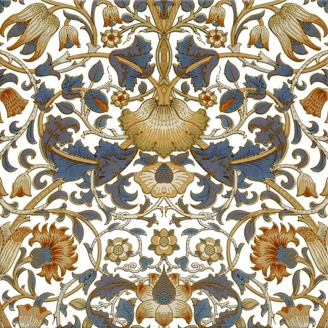 William Morris Lodden Tile Blue And Gold On White White