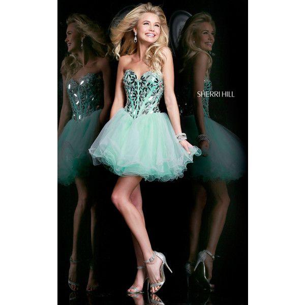 Light Green Sherri Hill 11131 Short Corset Homecoming Dress ($249) via  Polyvore…