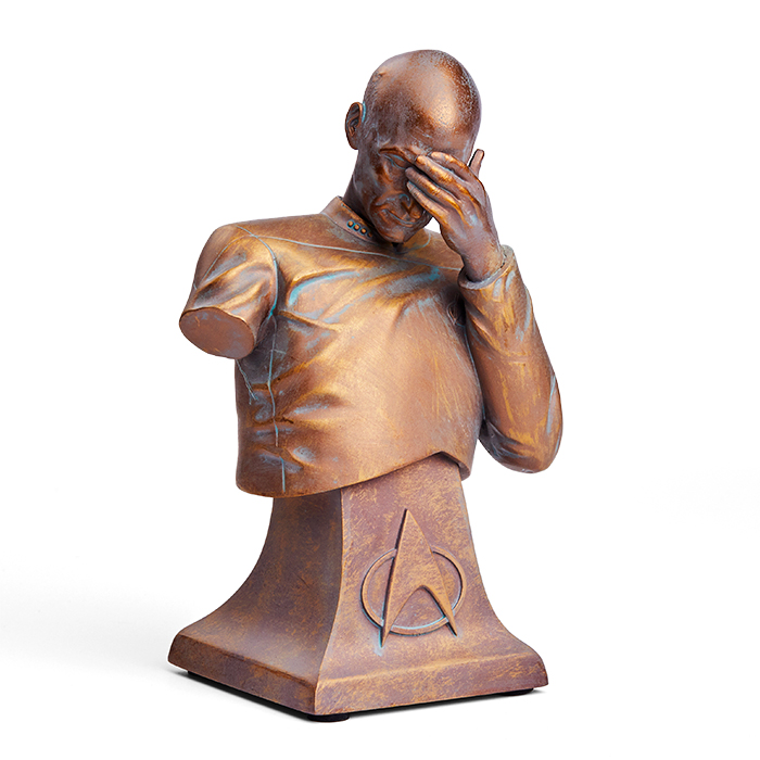 Set Phasers To Facepalm The Captain Picard Facepalm Bust Is Back As A Thinkgeek Exclusive Limited Bronze Edition With So Many Captain Picard Star Trek Statue