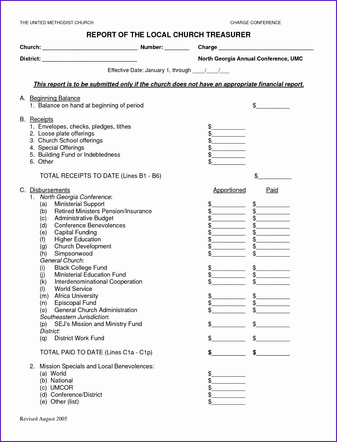Church Report Worksheet